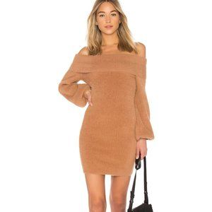 TULAROSA DRESS GRAMERCY OFF SHOULDER FUR CAMEL M